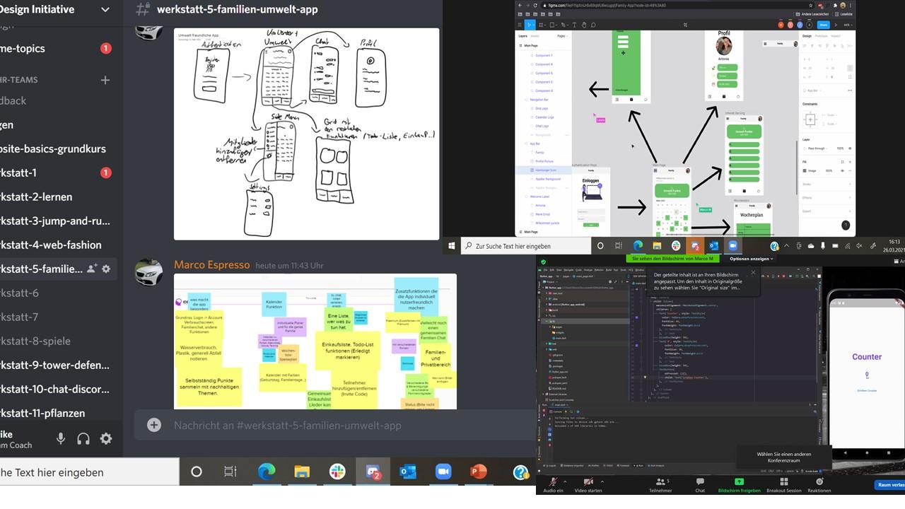 Der Weg von der Idee hin zum Programmieren einer App während des Camp der Code+Design Initiative.